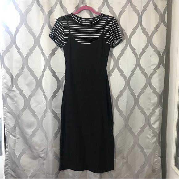 NWOT Black White Stripe Layered T-shirt Maxi Dress